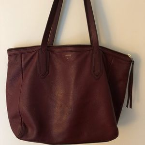 Genuine Leather Fossil Tote with Gold Accents